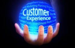 Klienta doświadczenia tła błękitny plan ilustracja wektor