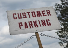 Klienta parking znak Fotografia Royalty Free