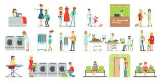 Klienter som besöker den veterinär- kliniken och tvätterit, shoppar, folk som kommer med deras husdjur för behandling till veteri stock illustrationer