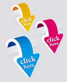 Klik geplaatste hier stickers. Royalty-vrije Stock Foto