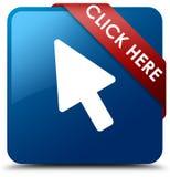 Klik hier blauw vierkant knoop rood lint in hoek Stock Foto's