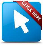 Klik hier cyaan blauw vierkant knoop rood lint in hoek Royalty-vrije Stock Fotografie