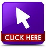 Klik hier purper vierkant knoop rood lint in midden Royalty-vrije Stock Foto