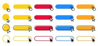 Klik knoop De curseurwijzer die op knopen klikken, richtend hand klikt en kleuren de vectorreeks van Web ui knopen vector illustratie