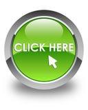 Klika tutaj glansowanego zielonego round guzika Zdjęcia Royalty Free