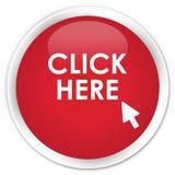 Klika tutaj premia czerwonego round guzika Obraz Stock