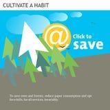 Klikken de Eco Vriendschappelijke Ideeën om te sparen Royalty-vrije Stock Afbeelding