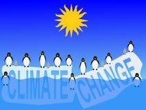 Klimaänderung mit Pinguinen Lizenzfreies Stockbild