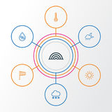 Klima-Entwurfs-Ikonen eingestellt Sammlung Temperatur, Sun, Windsock und andere Elemente Schließt auch Symbole wie ein Lizenzfreies Stockbild