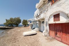 KLIMA, GREECE - MAY 2018: Colourfull old houses in fishermen town of Klima on Milos island, Greece