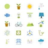 Klima- und grüne Energie-flache Ikonenfarbe Stockbilder