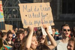 Climate march GHENT, teen protest for the envirement stock photography