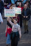 Climate march GHENT, teen protest for the envirement stock images