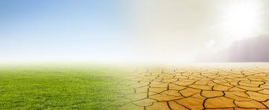 Klimaatverandering van weide aan woestijn vector illustratie