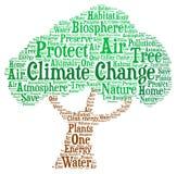 Klimaatverandering - Word wolkenillustratie Stock Foto