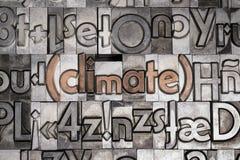Klimat med rörlig typprinting royaltyfri fotografi