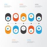 Klimat Płaskie ikony Ustawiać Kolekcja sztandar, półksiężyc, błyskawica I Inni elementy, Także Zawiera symbole Tak jak Zdjęcie Stock