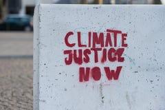 Klimat sprawiedliwość teraz zdjęcia stock