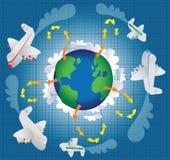 Klimatförändring och flygresa Arkivbild