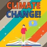 Klimatf?r?ndring f?r ordhandstiltext Aff?rsid? f?r skillnad i global eller regional man f?r klimat mycket snabbt vektor illustrationer