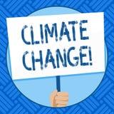Klimatf?r?ndring f?r textteckenvisning Begreppsm?ssig fotoskillnad i globalt eller regionalt handinnehav f?r klimat mycket snabbt royaltyfri illustrationer