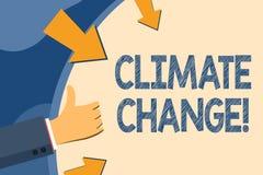 Klimatf?r?ndring f?r textteckenvisning Begreppsm?ssig fotoskillnad i globalt eller regionalt klimat mycket snabbt att r?cka att g royaltyfri illustrationer