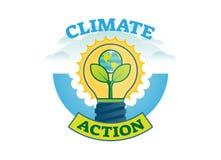 Klimathandling, emblem för logo för klimatförändringrörelsevektor stock illustrationer