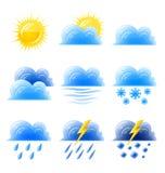 Klimatische Ikone des gesetzten Wetters der Wolkengoldsonne Stockfoto
