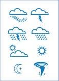 Klimatsymbol, ljus, åska, regn etc. stock illustrationer
