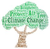 Klimawandel - Wortwolkenillustration stockfoto