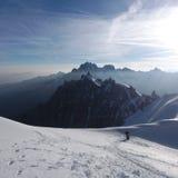 Klimmers bij de gletsjer in Chamonix Stock Foto's