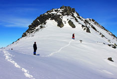 Klimmers die de berg in Retezat-bergen uitgaan, Roemenië Royalty-vrije Stock Foto