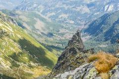 Klimmers en berggidsen met cliënten terwijl het beklimmen van de populaire Mnich-Monnikspiek in Poolse Tatras royalty-vrije stock afbeelding