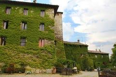 Klimop-behandeld huis in Toscanië stock afbeeldingen