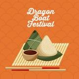 Klimp och pinne för ris för mat för drakefartygfestivel vektor illustrationer