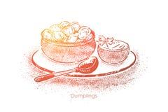 Klimpar bowlar med gräddfil, deg med köttfyllning, nationell kokkonst, hemlagad lunch, frukost vektor illustrationer