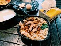 Klimpar f?r kruka f?r kinesiska traditionella smakliga l?ckra sunda matnudlar grillar varma Duck Tofu Chicken Soup royaltyfri foto