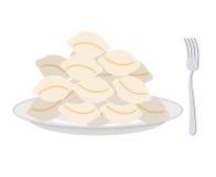 Klimpar i en platta och en gaffel på en vit bakgrund Vektorillu vektor illustrationer