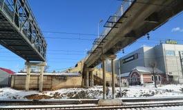 Klin, Russia - February 27. 2016. Pedestrian bridge over the railroad tracks at  station Stock Image