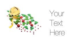 Klingel Bell mit Weihnachtsdekorationen Lizenzfreies Stockfoto