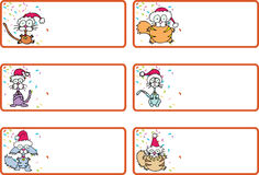Klingel-Katze-Weihnachtsgeschenk-Marken Lizenzfreie Stockfotos