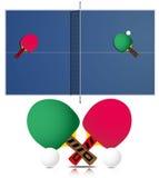 Klingeln Pong Tabelle und Schläger Stockfoto