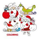 Klingelnglocke Schattenbild-Santa Clauss, Pferdeschlitten Vektor stock abbildung
