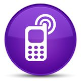 Klingelnspezieller purpurroter runder Knopf der ikone des Mobiltelefons Lizenzfreies Stockbild