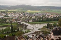 Klingenberg bridge over Main river. Germany, Deutschland, April 2017, Spring Royalty Free Stock Images