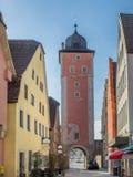 Klingenturm w Ochsenfurt który jest małym wioską rzeczną magistralą Zdjęcia Stock