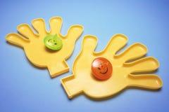 Klingeryt ręki z wierzchołkami zdjęcia stock