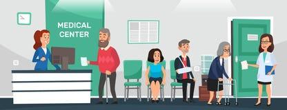 Klinikaufnahme Krankenhauspatienten, Doktorwarteraum und Karikaturvektor medizinischer Behandlung Leutewartezeitdoktoren stock abbildung