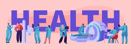 KlinikTomographybaner Avdelning för tålmodig sund yrkesmässig dator för sjukhussjukhussjukvård diagnostisk stock illustrationer