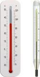 Klinischer und Wetterthermometer Stockbild